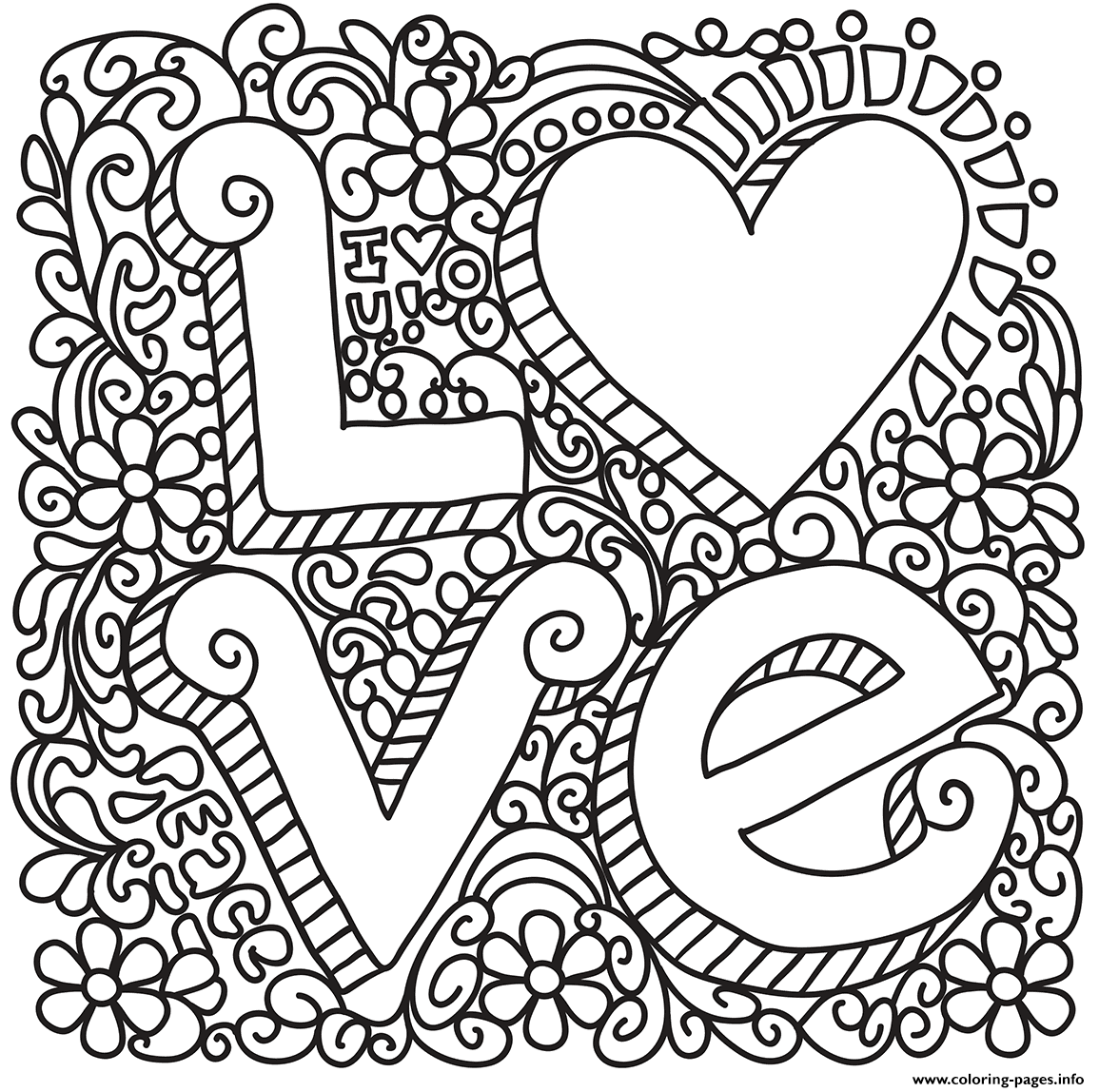 Love Zentangle St Valentines Coloring Pages Printable