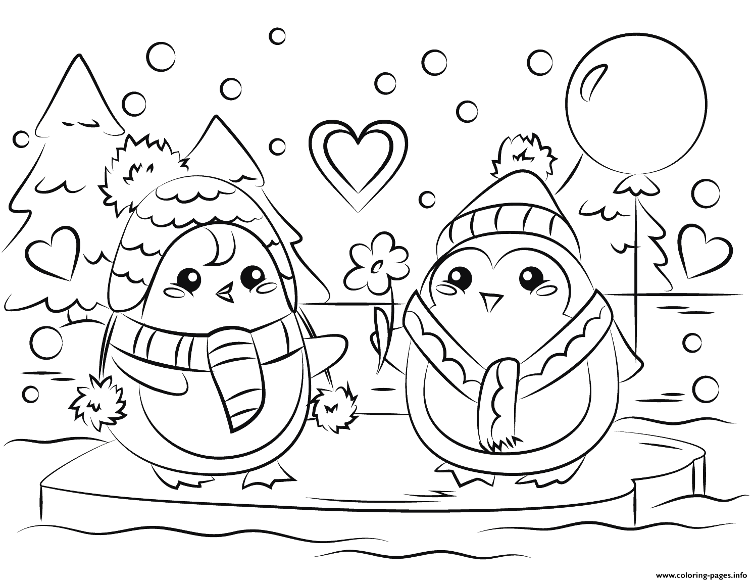 Penguin Couple In Love St Valentines Coloring Pages Printable