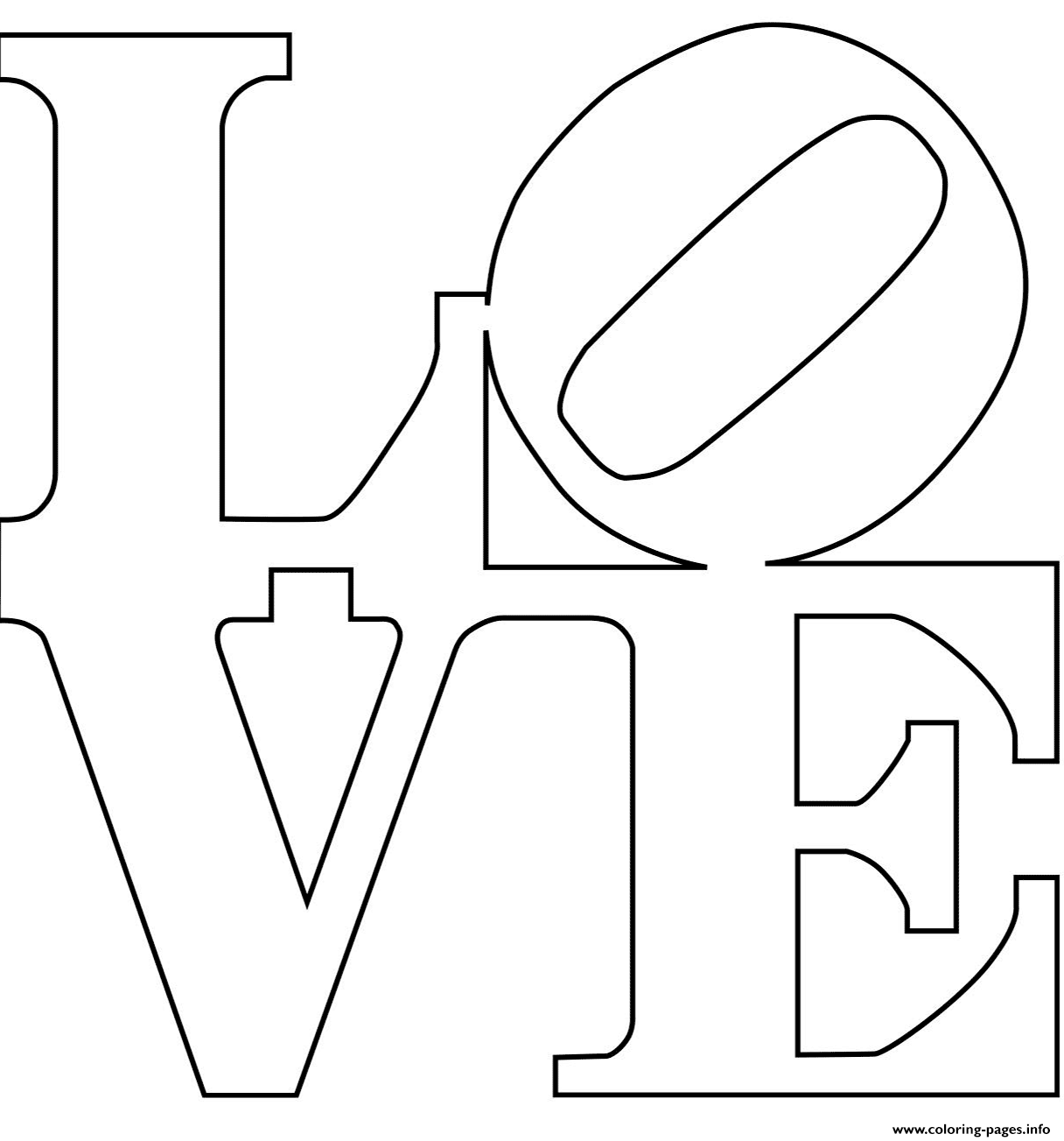 Robert Indiana Love Text Coloring