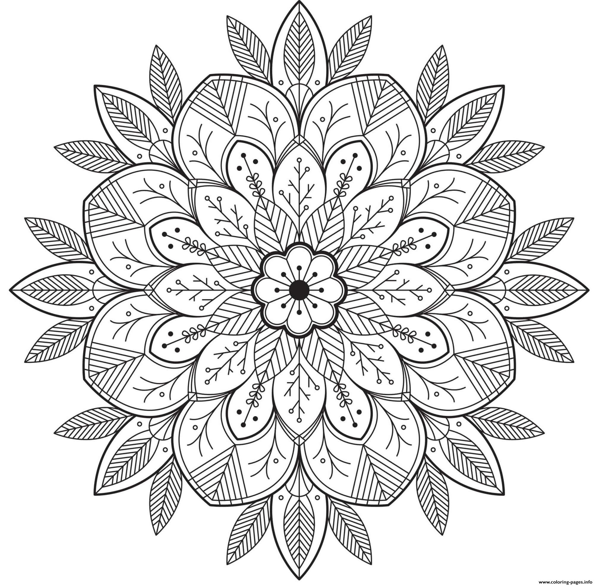 Mandala Flowers For Adult coloring pages