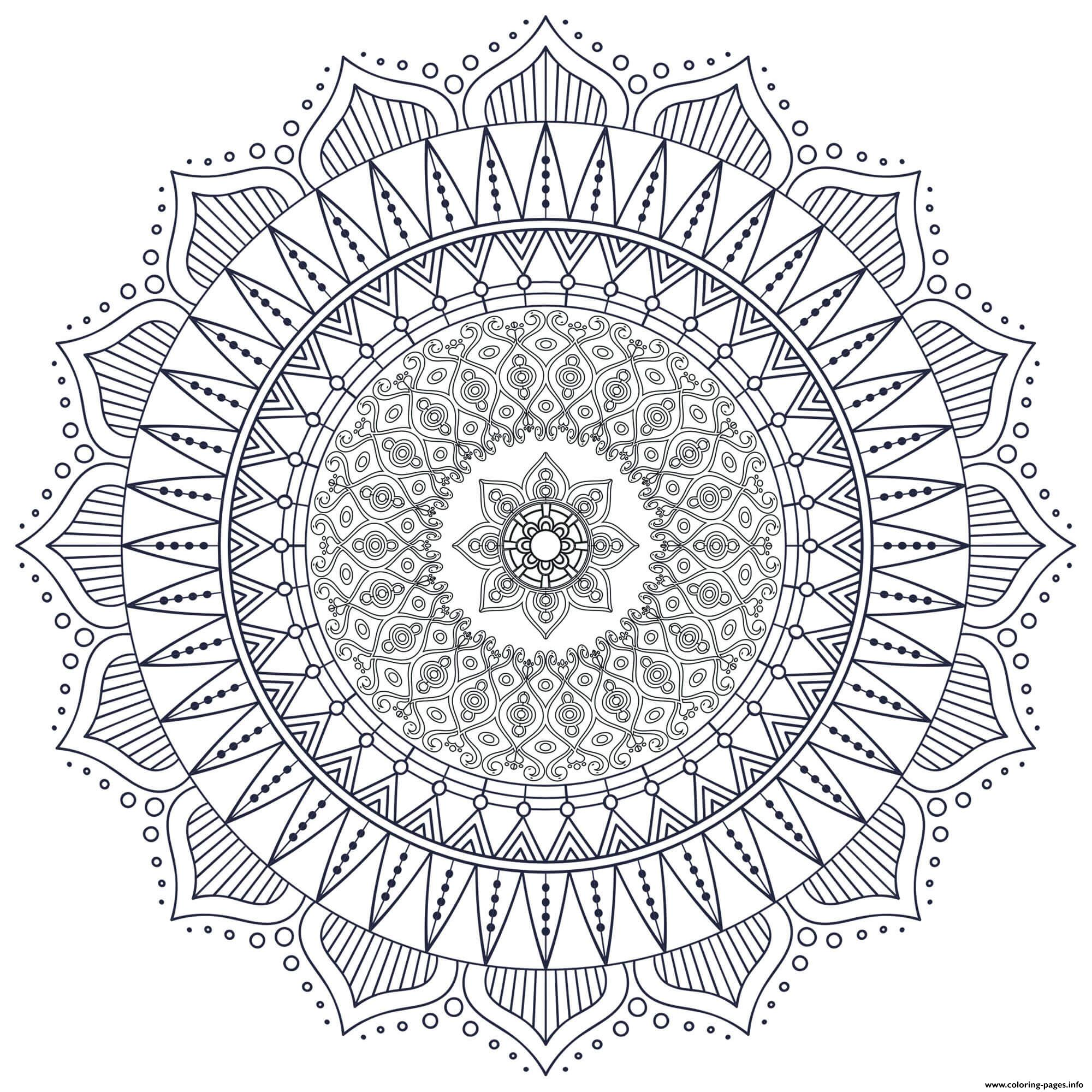 Mandala Zen Antistress Hard Coloring Pages Printable