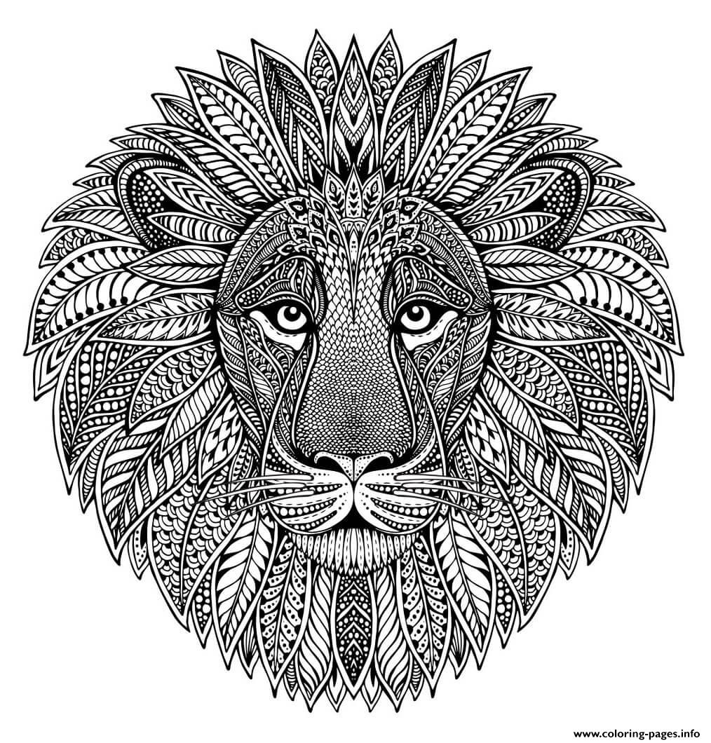 Mandala Animal Adult Lion Coloring Pages Printable