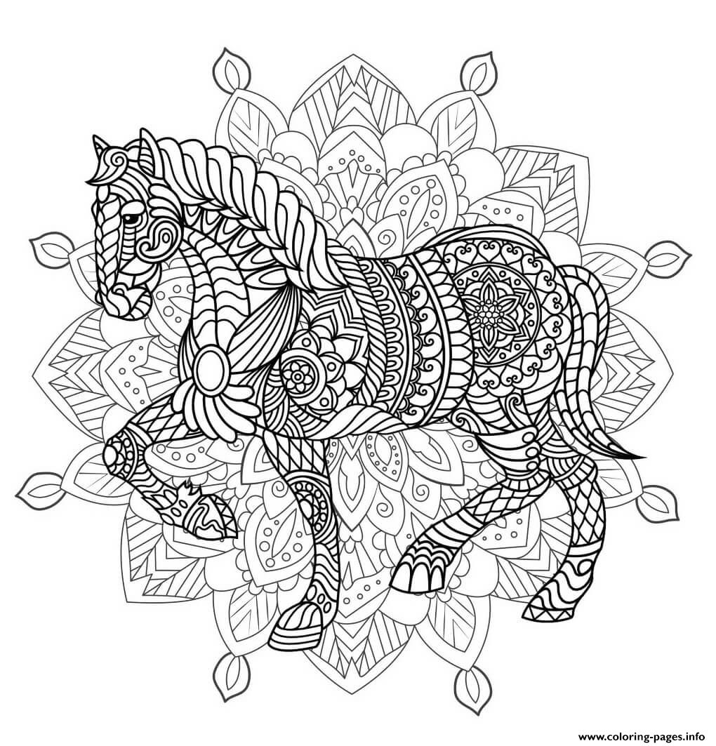 Mandala Horse Adult Animal coloring pages