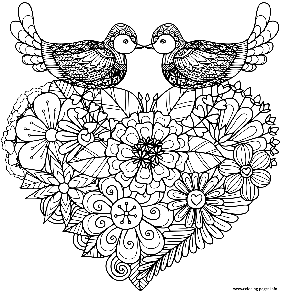 Two Birds Kissing Above Floral coloring pages