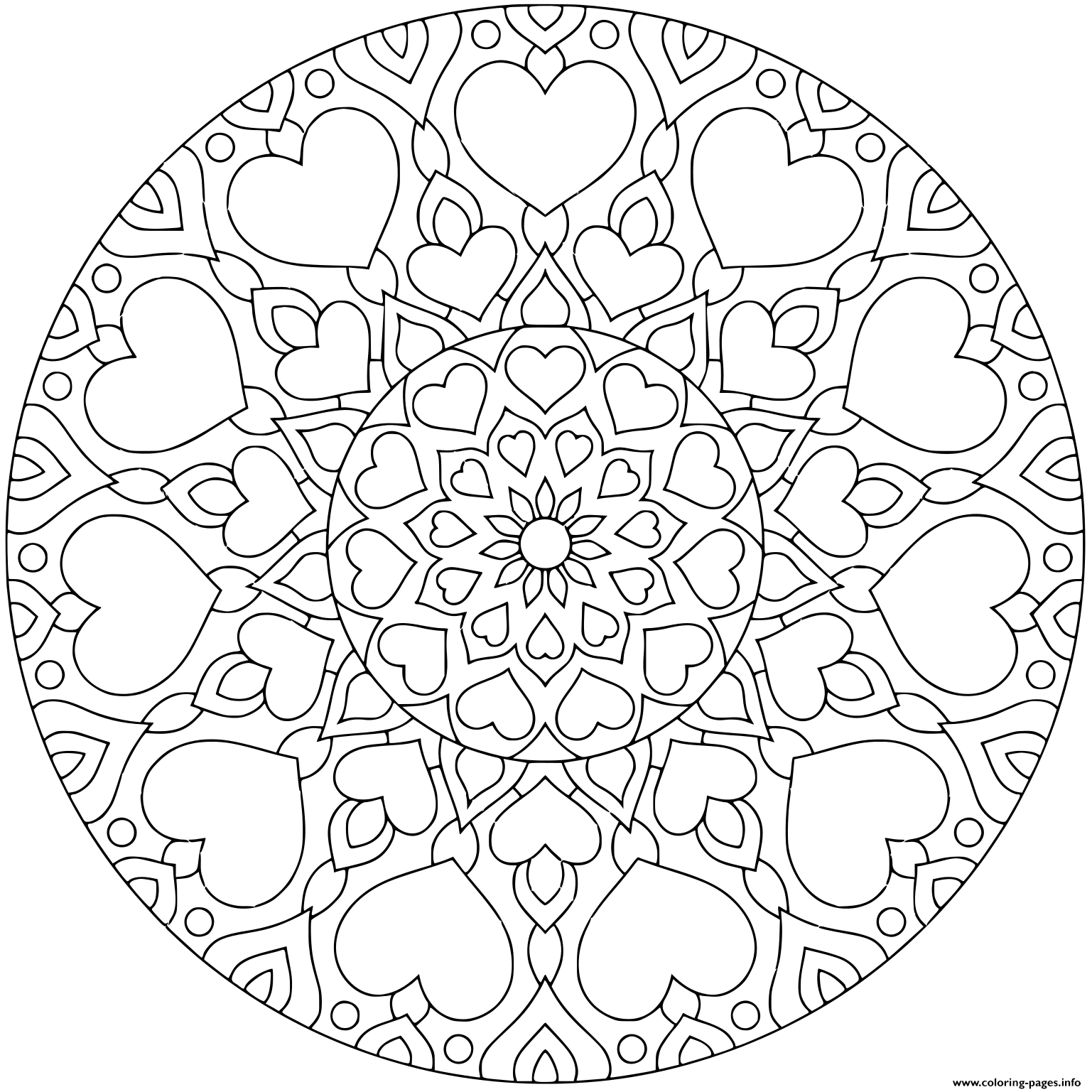 Flower Mandala With Hearts For Valentine S Day coloring pages