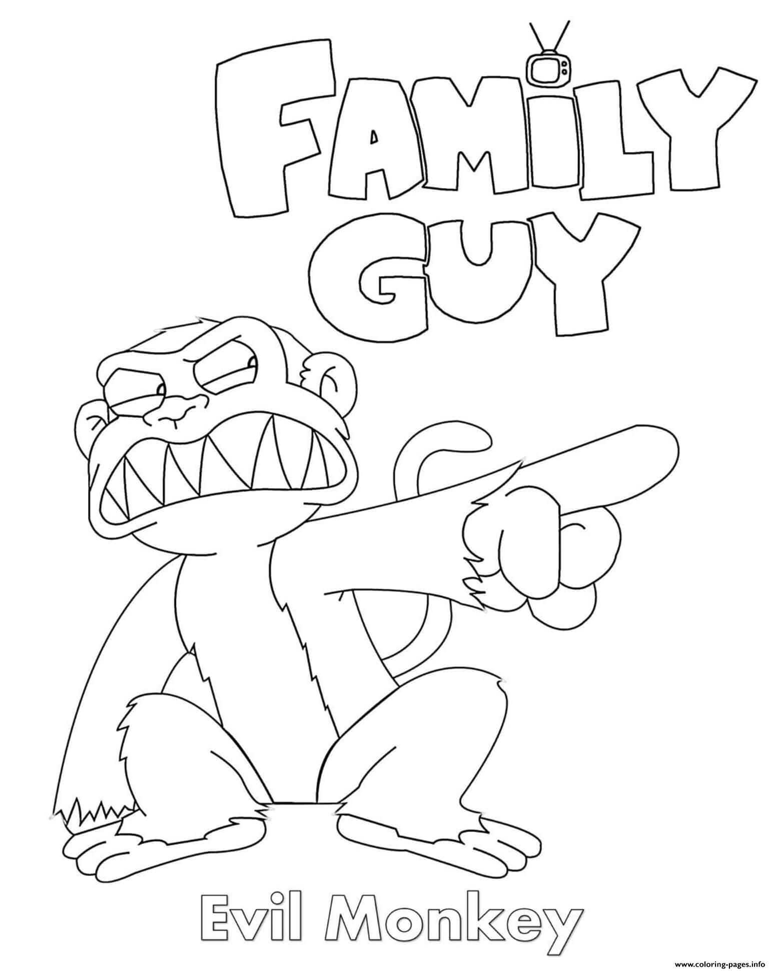 Family Guy Evil Monkey Coloring Pages Printable