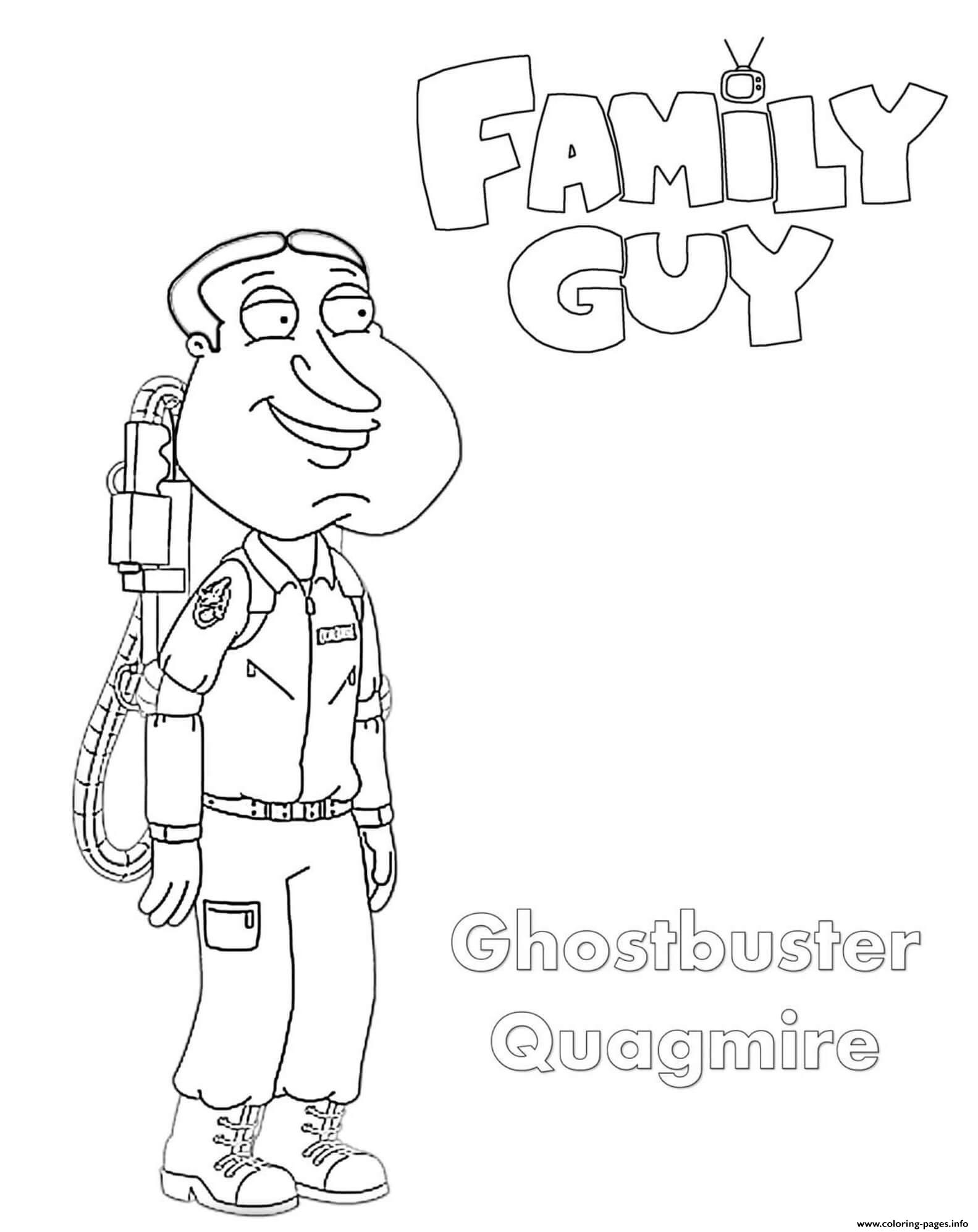 Family Guy Ghostbusters Quagmire coloring pages