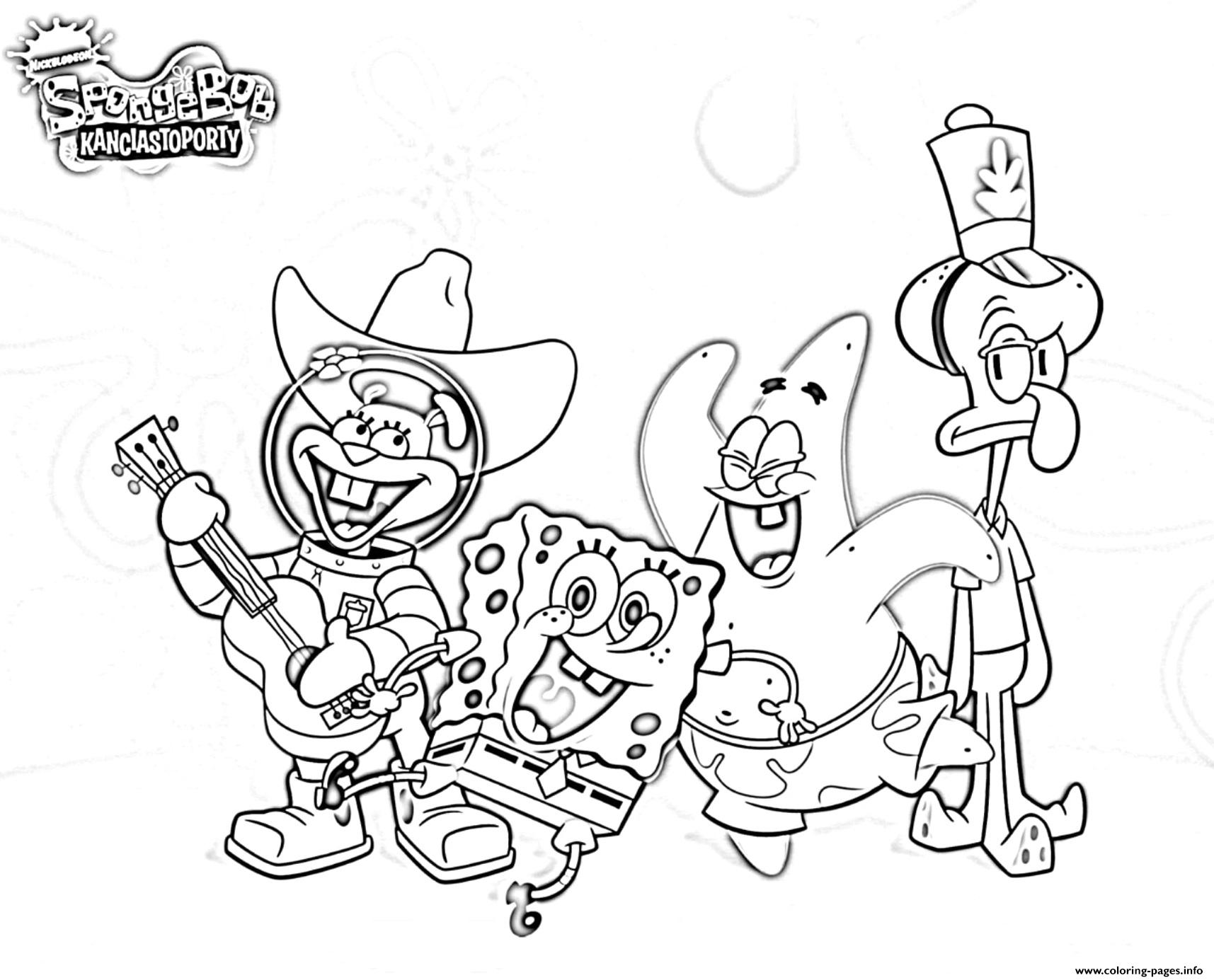 Sponegbob Band Coloring Pages Printable