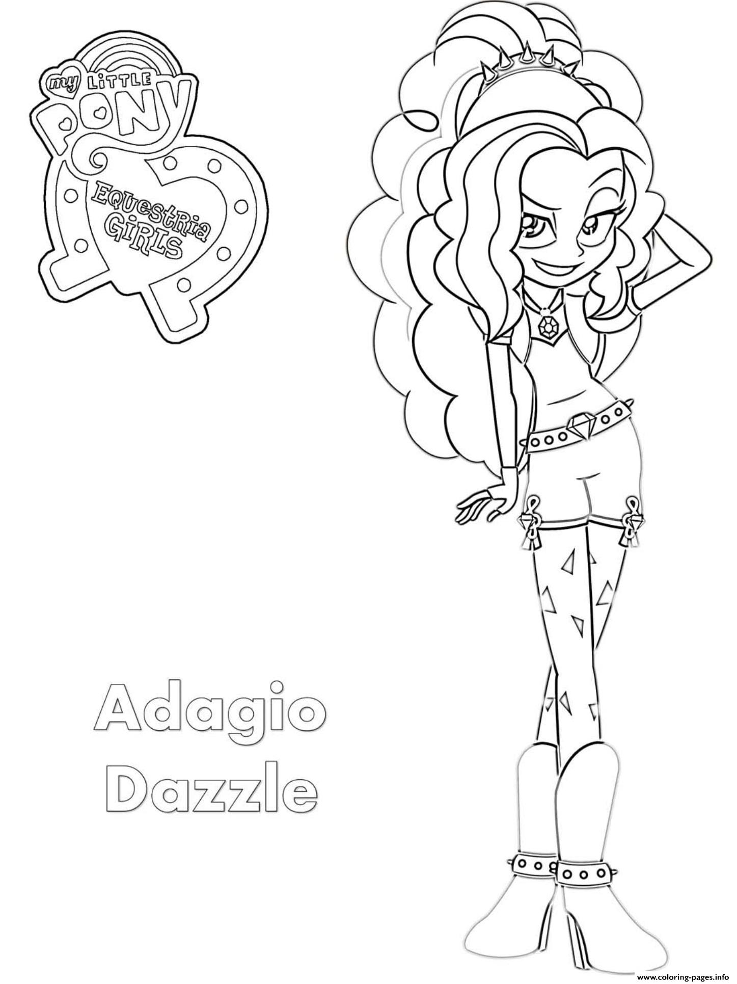 Equestria Girls Adagio Dazzle Coloring Pages Printable