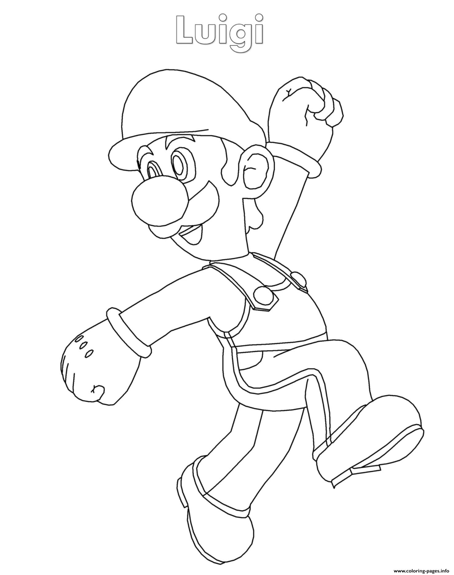 Luigi Super Mario Nintendo Coloring Pages Printable