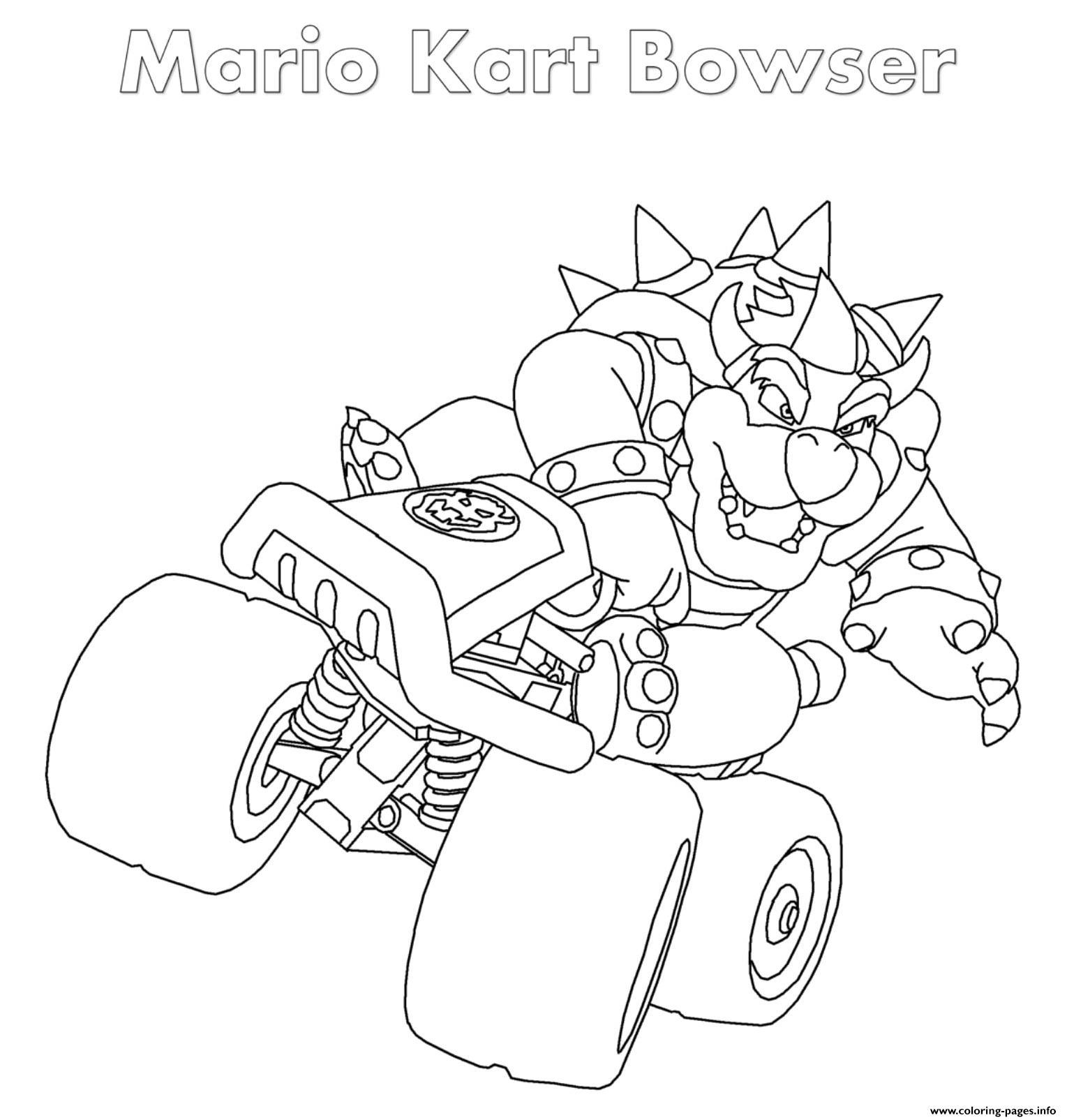 Bowser Mario Kart Nintendo Coloring Pages Printable