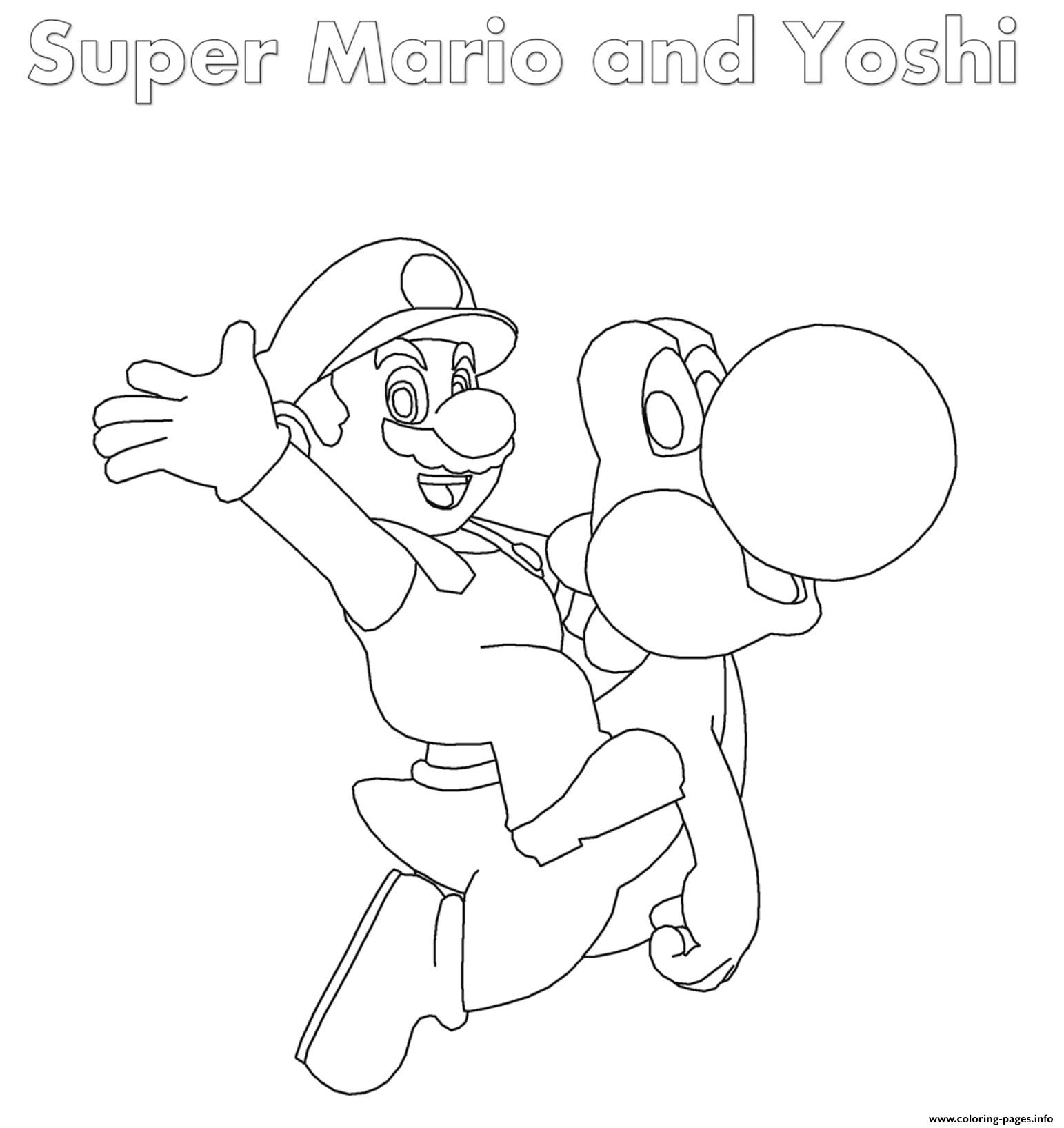 Super Mario And Yoshi Coloring Pages Printable
