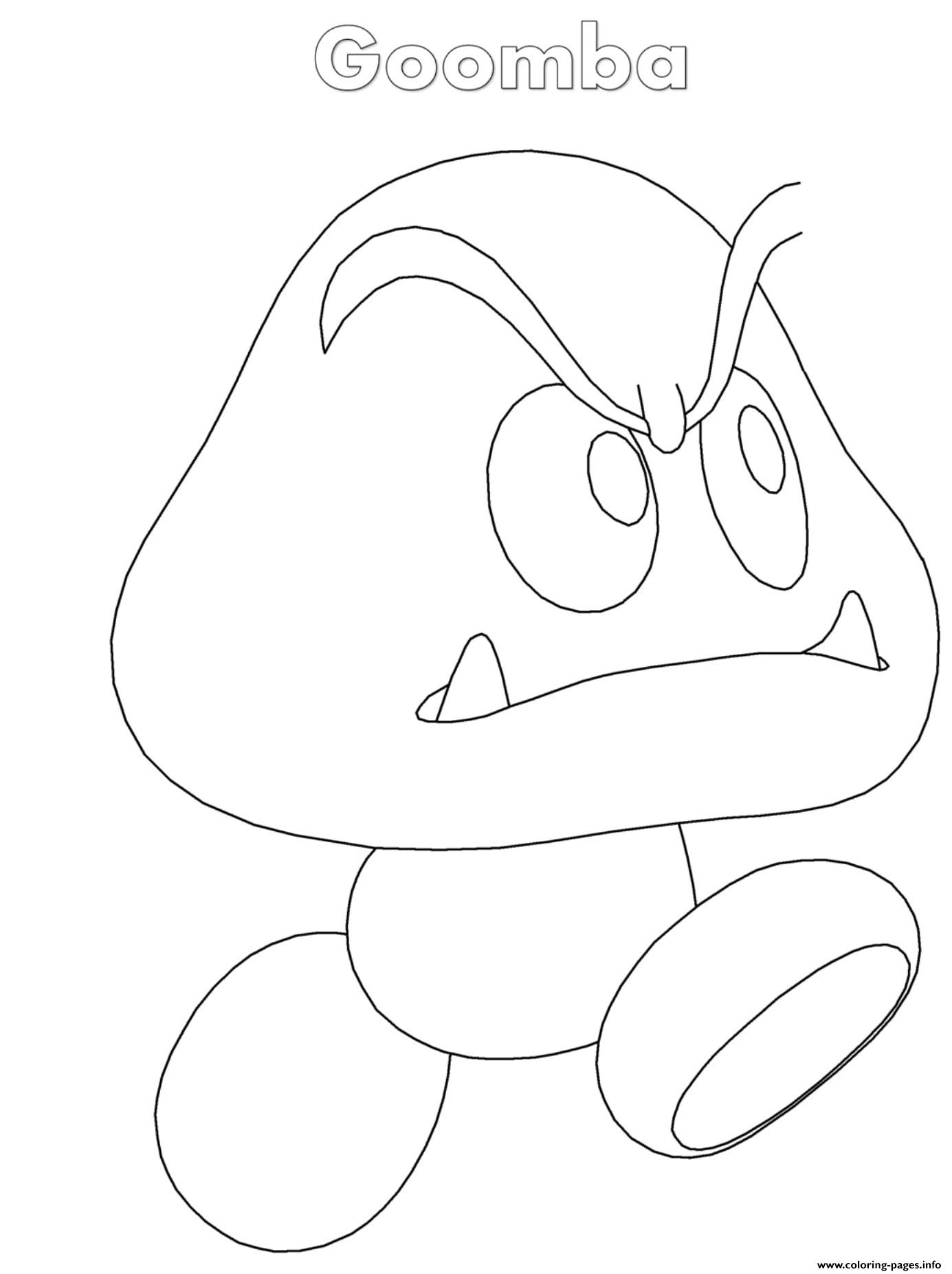 Goomba Nintendo coloring pages