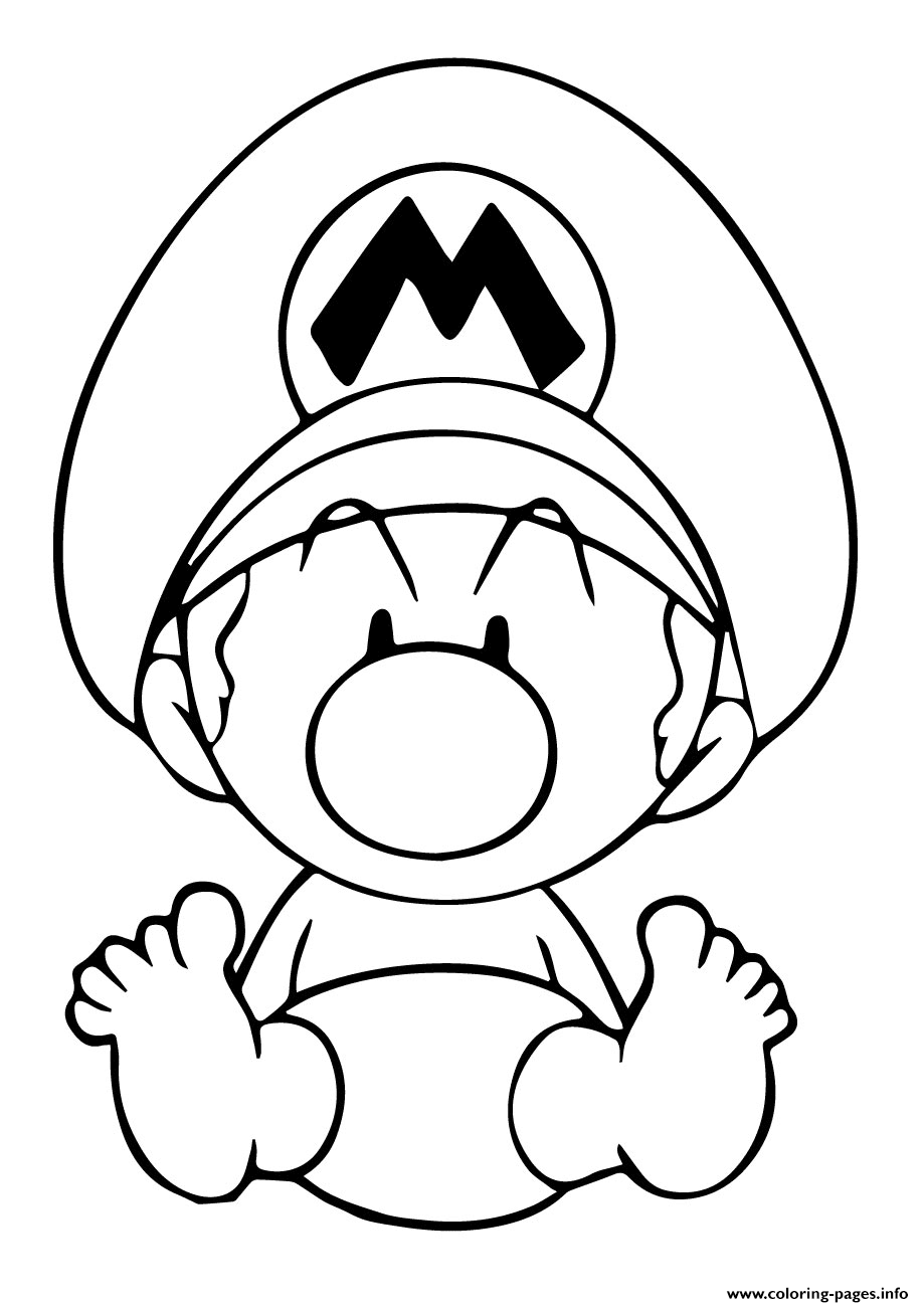 Baby Mario Cute coloring pages