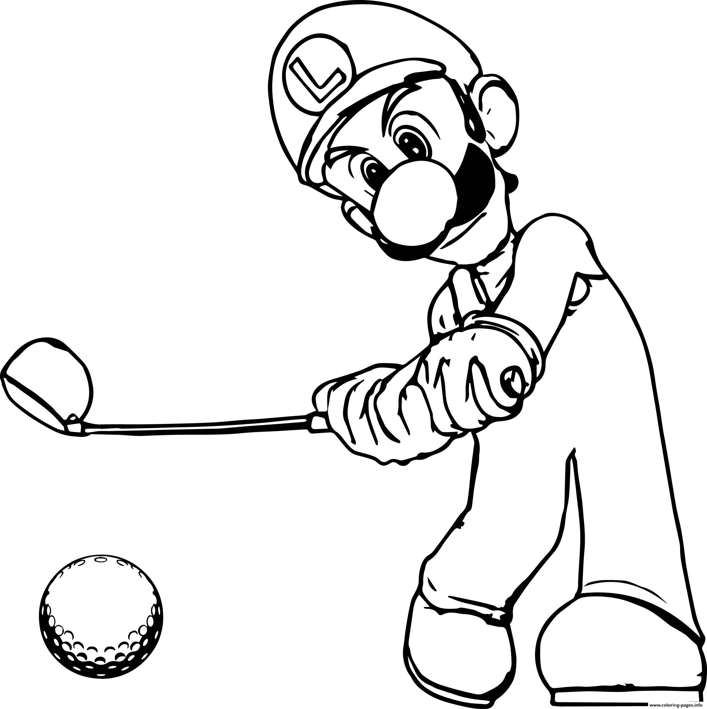 Super Mario Luigi Golf Coloring Pages Printable
