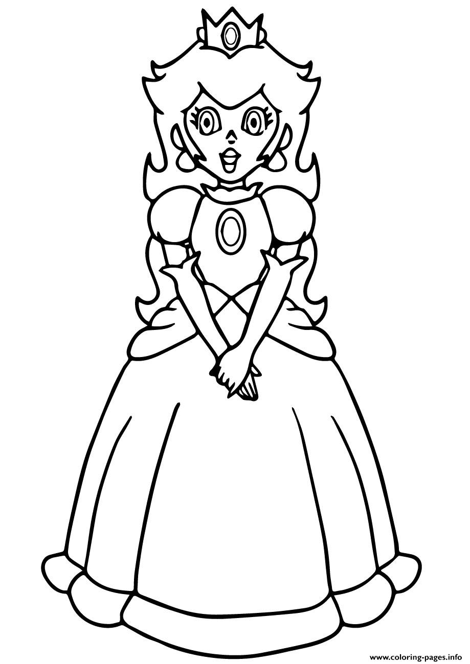 Super Mario Princess Peach Coloring Pages Printable