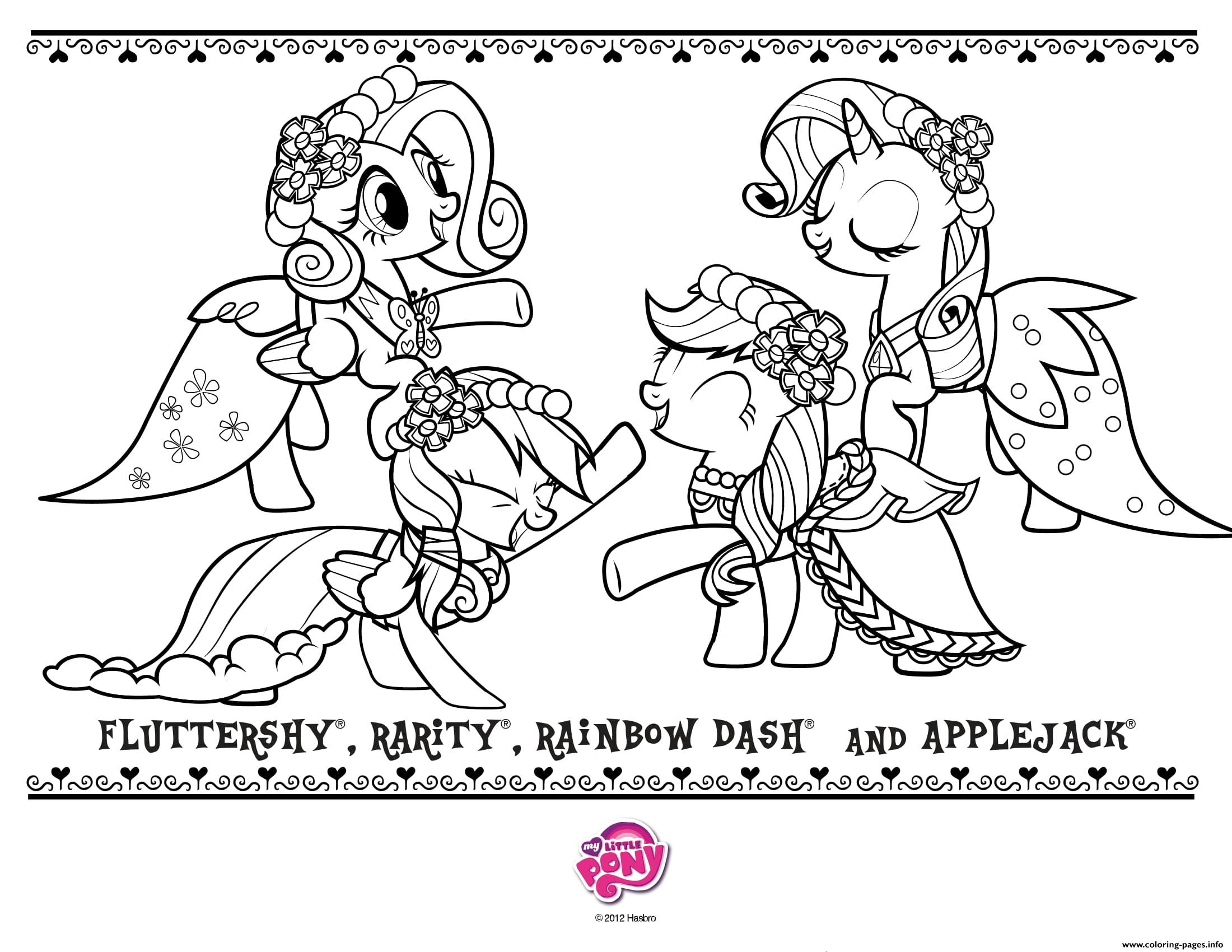 Fluttershy Rarity Rainboy Dash Applejack Coloring Pages