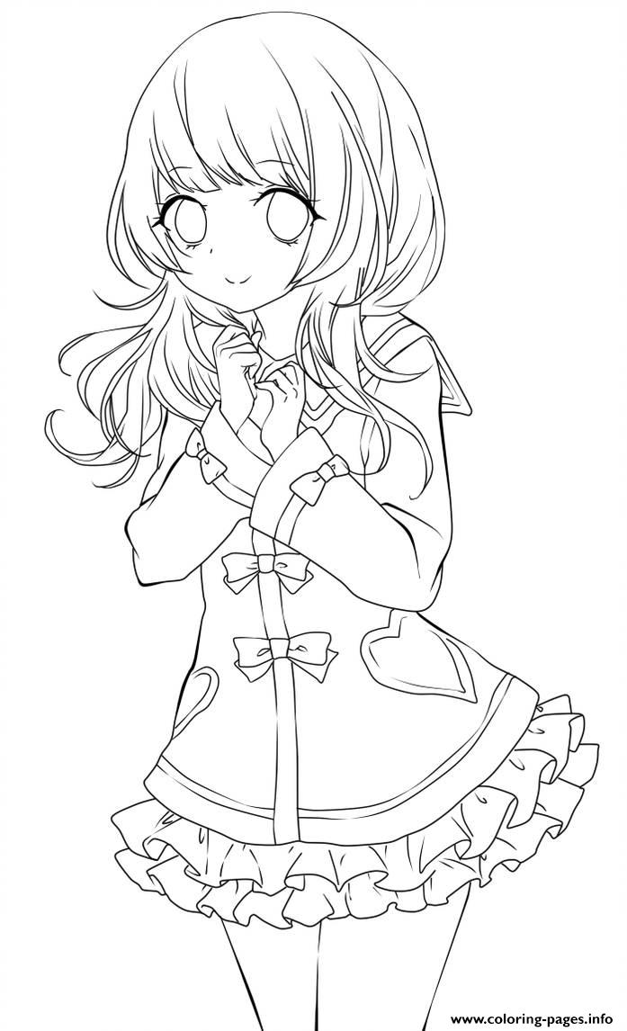 Cute Anime Girl Lineart By Chifuyu San Coloring Pages