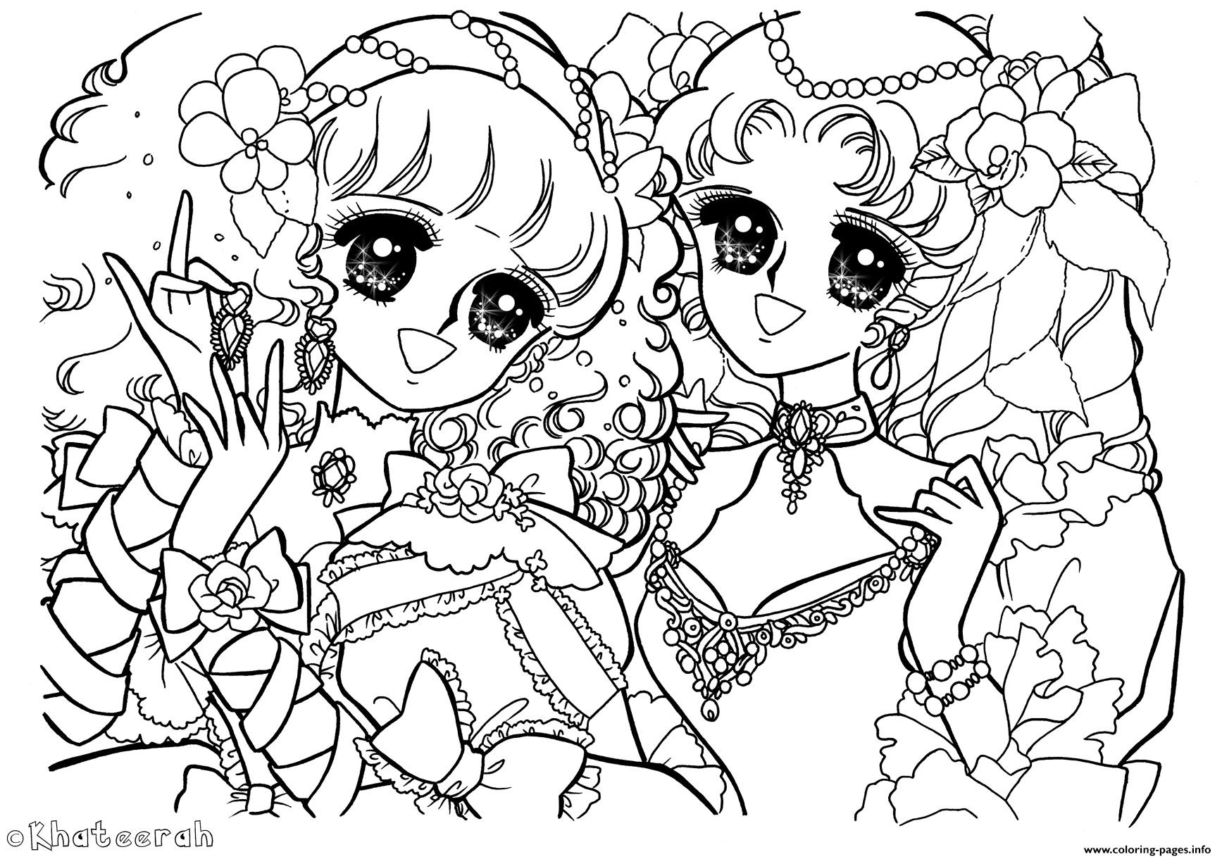 Glitter Force Anime Girls coloring pages