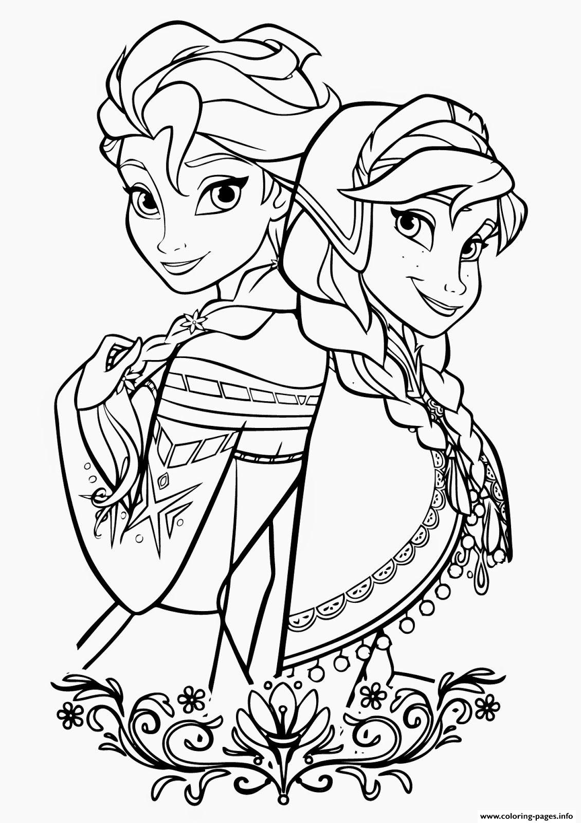 Frozen Cartoon Coloring Pages Printable