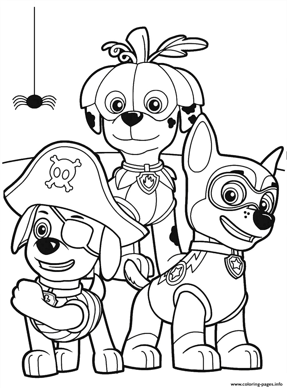 Halloween Cartoon Coloring Pages.Paw Patrol Halloween Party Cartoon Coloring Pages Printable
