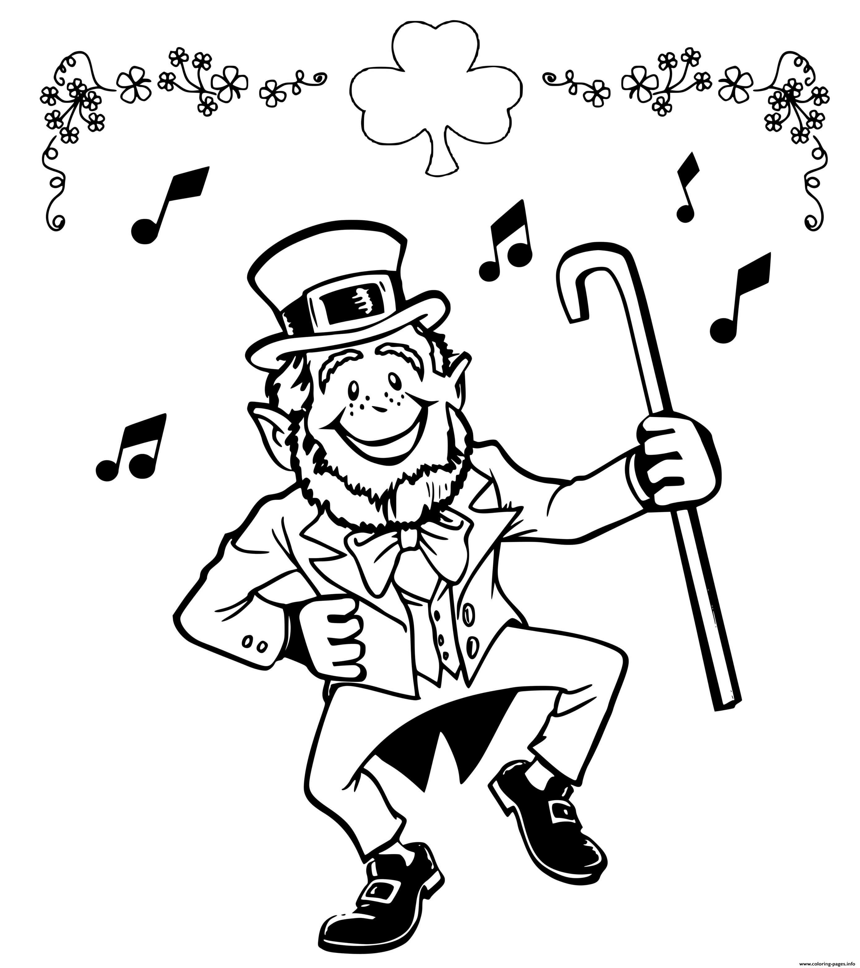 Lucky Leprechaun Irish Jig Coloring Pages Printable