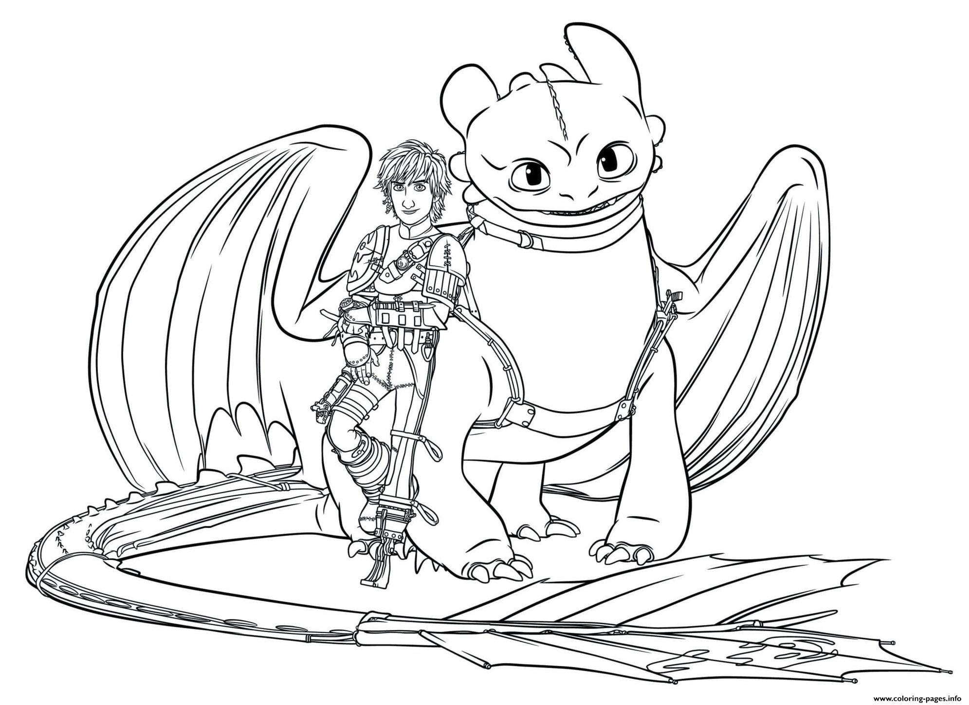 Hiccup toothless dragon 3 coloring pages printable