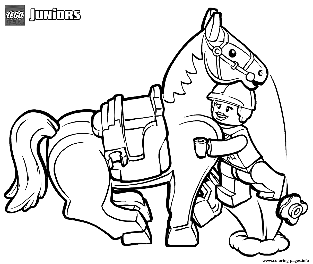 Lego Junior Horse Rider And Horse Coloring Pages Printable