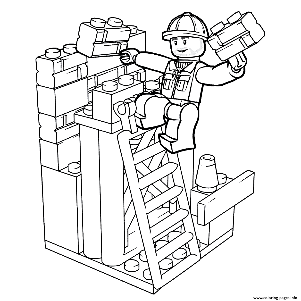 Lego Construction Worker Coloring Pages Printable