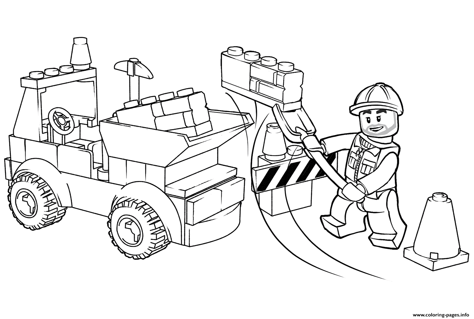 Lego Junior Dump Truck Coloring Pages Printable