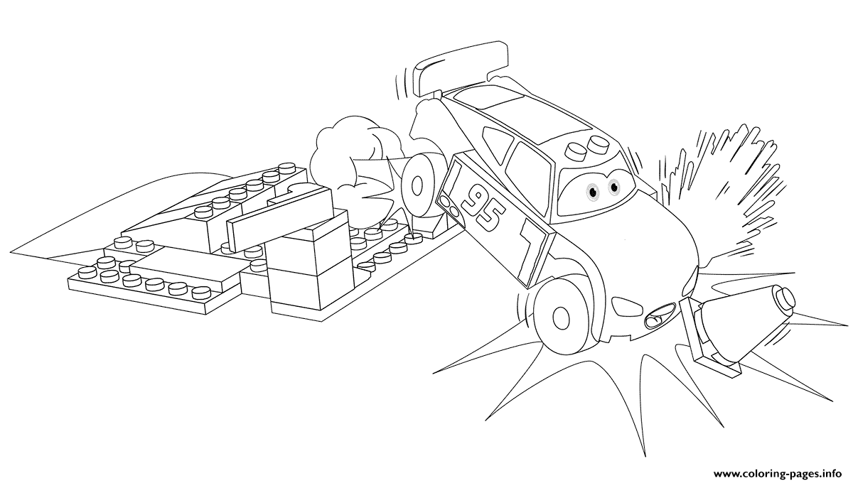 Lego Junior Lightning Mcqueen Car Crash Coloring Pages