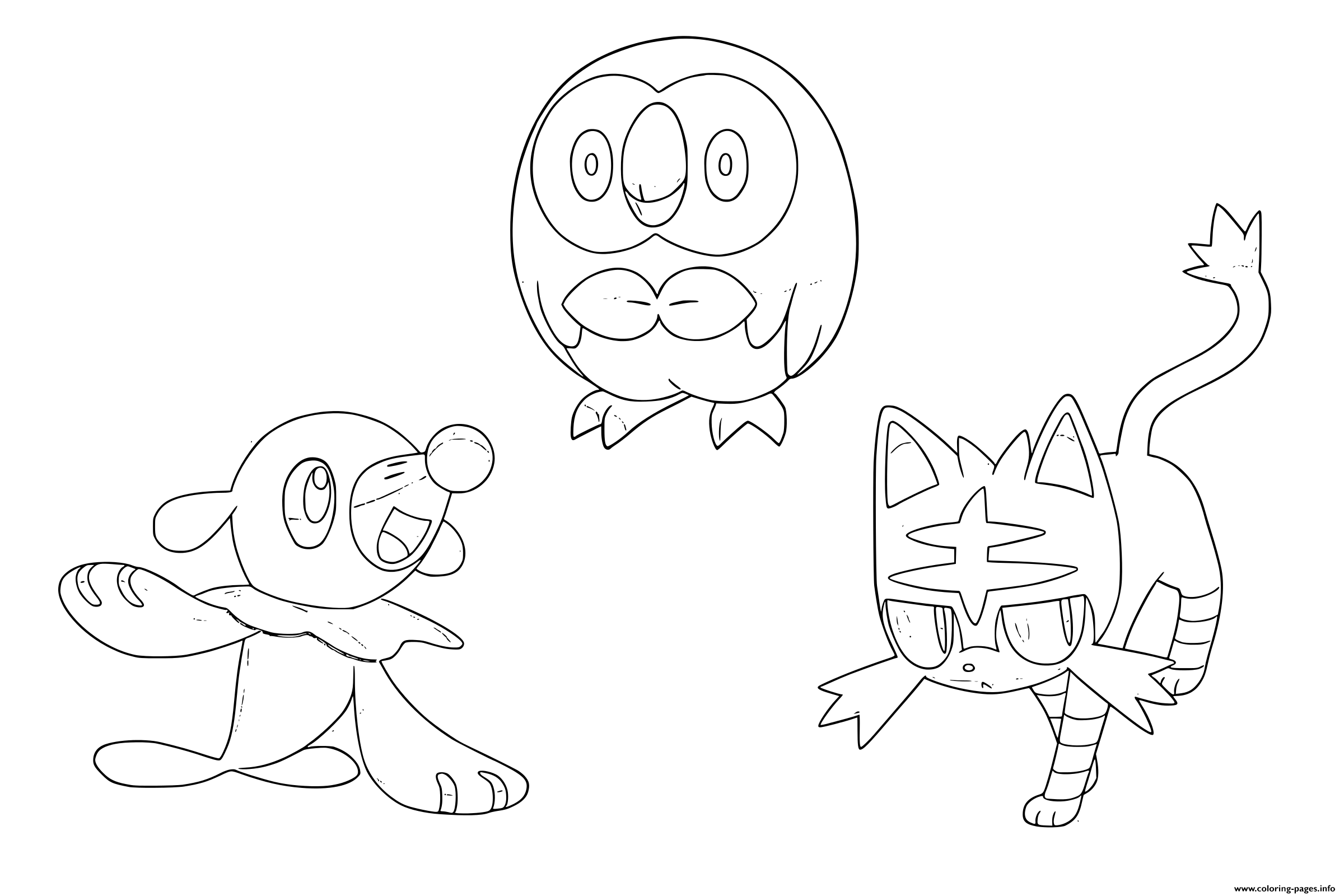 Pokemon Sun Moon Starters Coloring