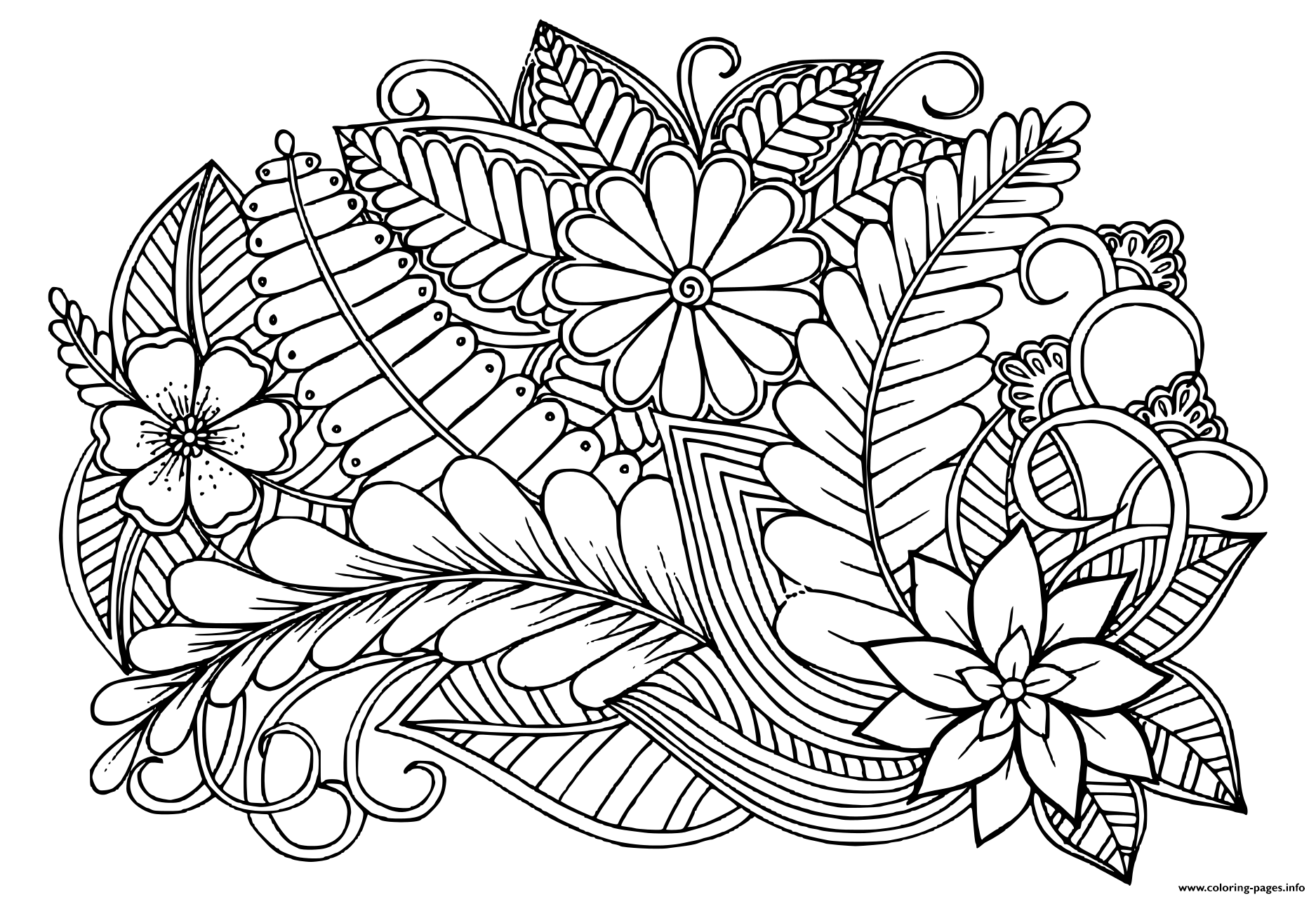 - Doodle Floral Pattern In Black And White Adult Coloring Pages