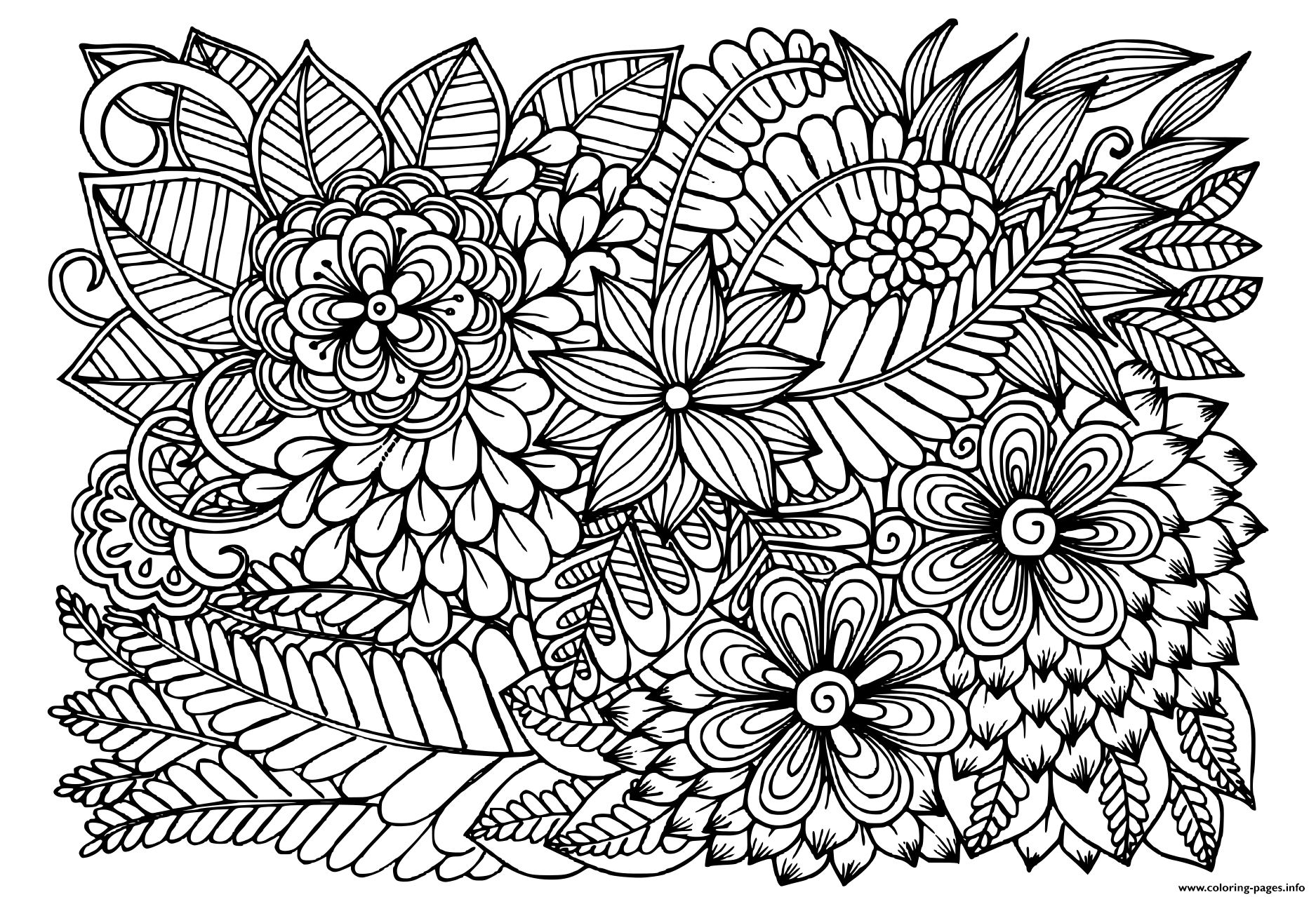 Doodle Flowers In Black And White Floral Pattern Coloring Pages