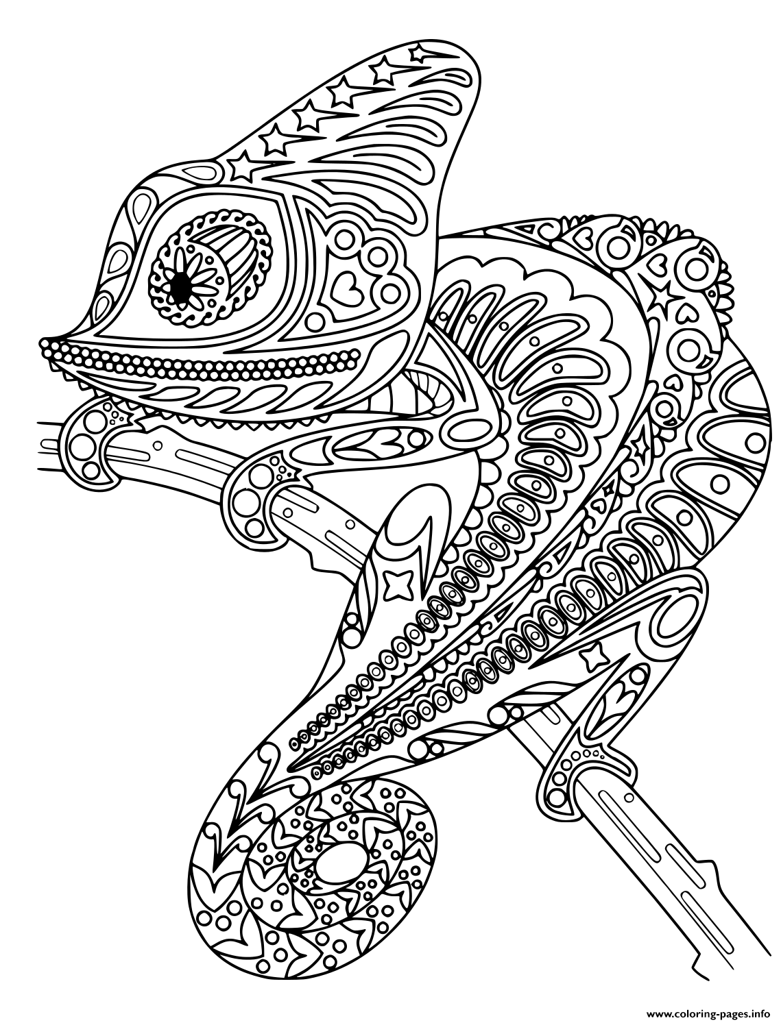 Chameleon Mandala Black And White Coloring Pages Printable
