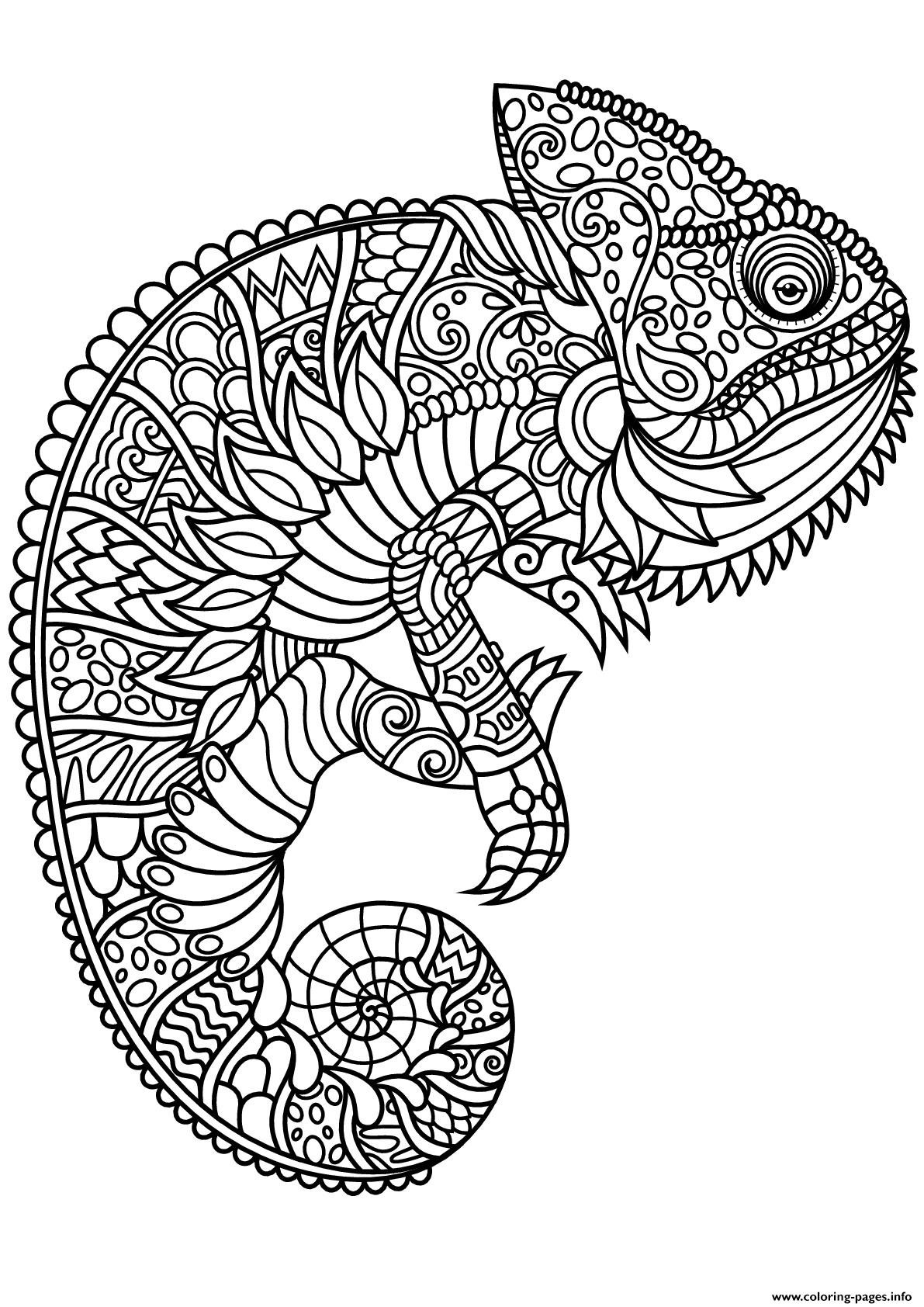Mandala Chameleon Animal Coloring