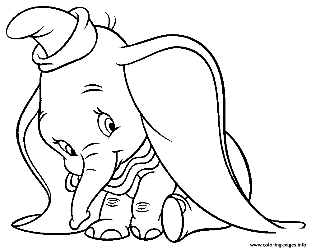 Shy Dumbo Cartoon coloring pages