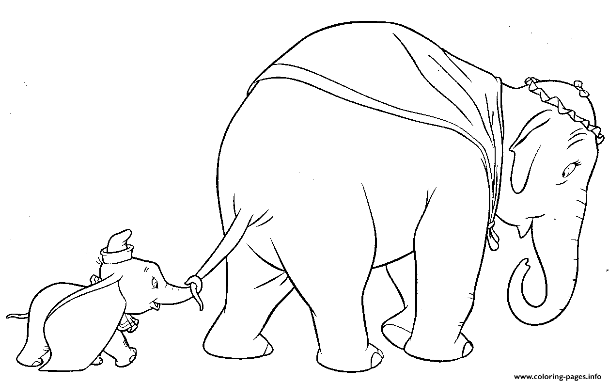 Dumbo Walks With His Mother coloring pages
