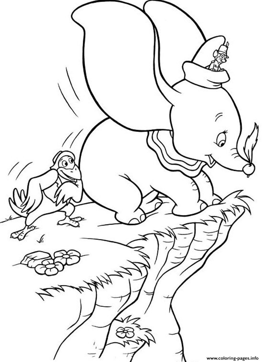 Crow Helps Dumbo To Fly Again coloring pages