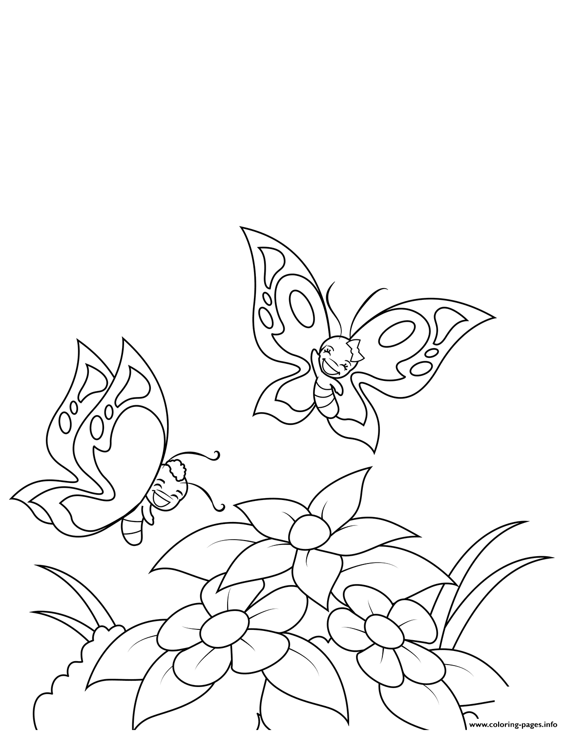 Happy Butterflies Fly Over Flowers Coloring Pages Printable