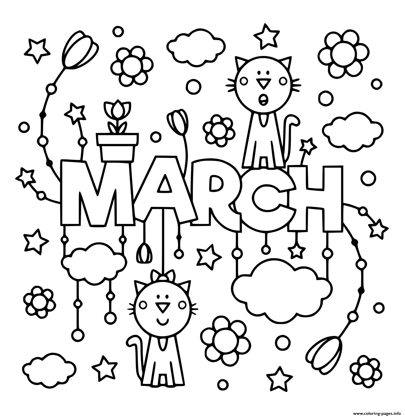 Spring March Kids Coloring Pages Printable