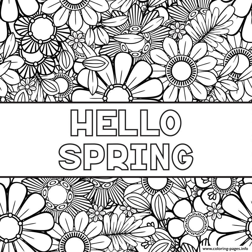 Hello Spring Flowers Coloring Pages Printable