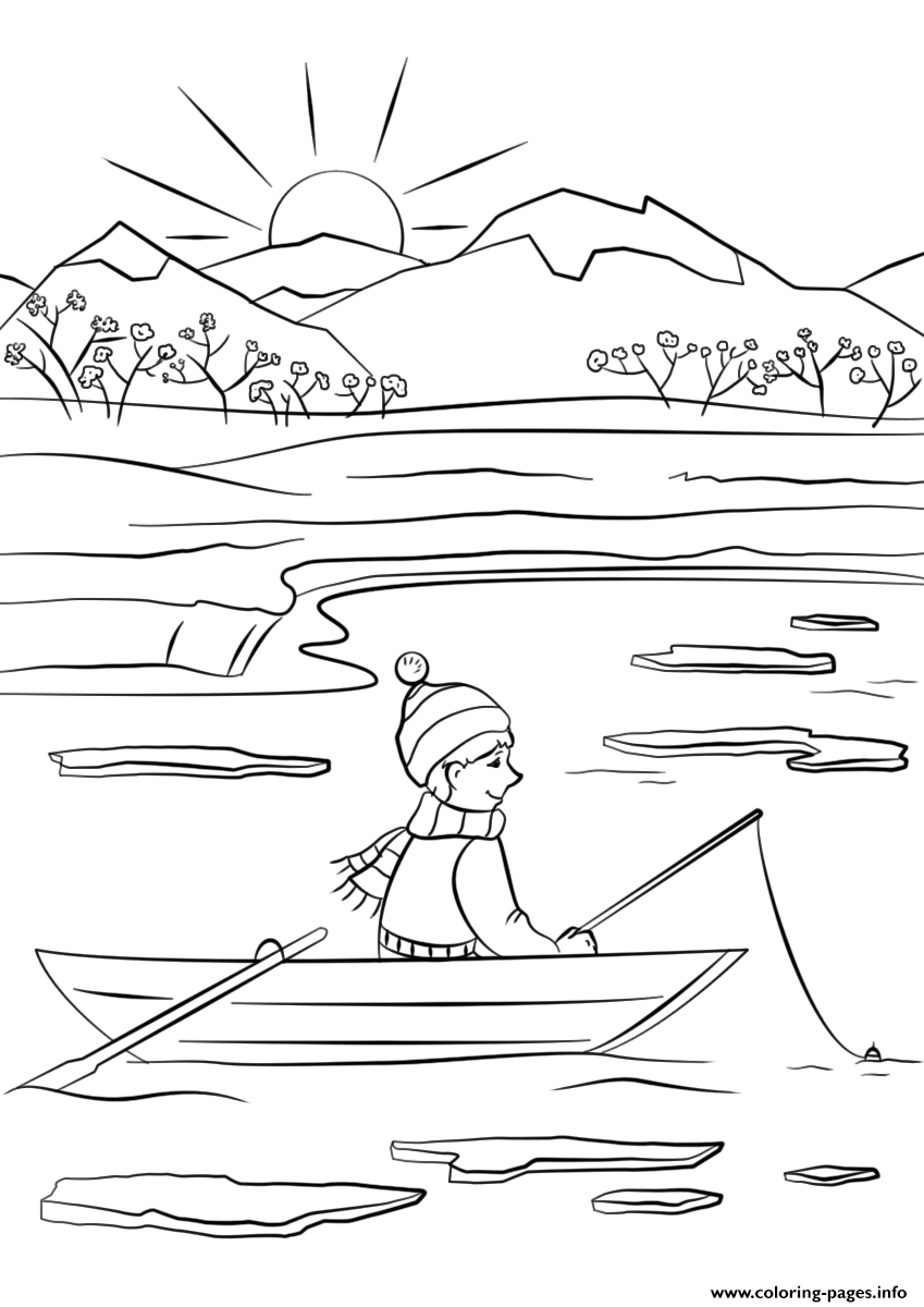 Spring Fishing Coloring Pages Printable