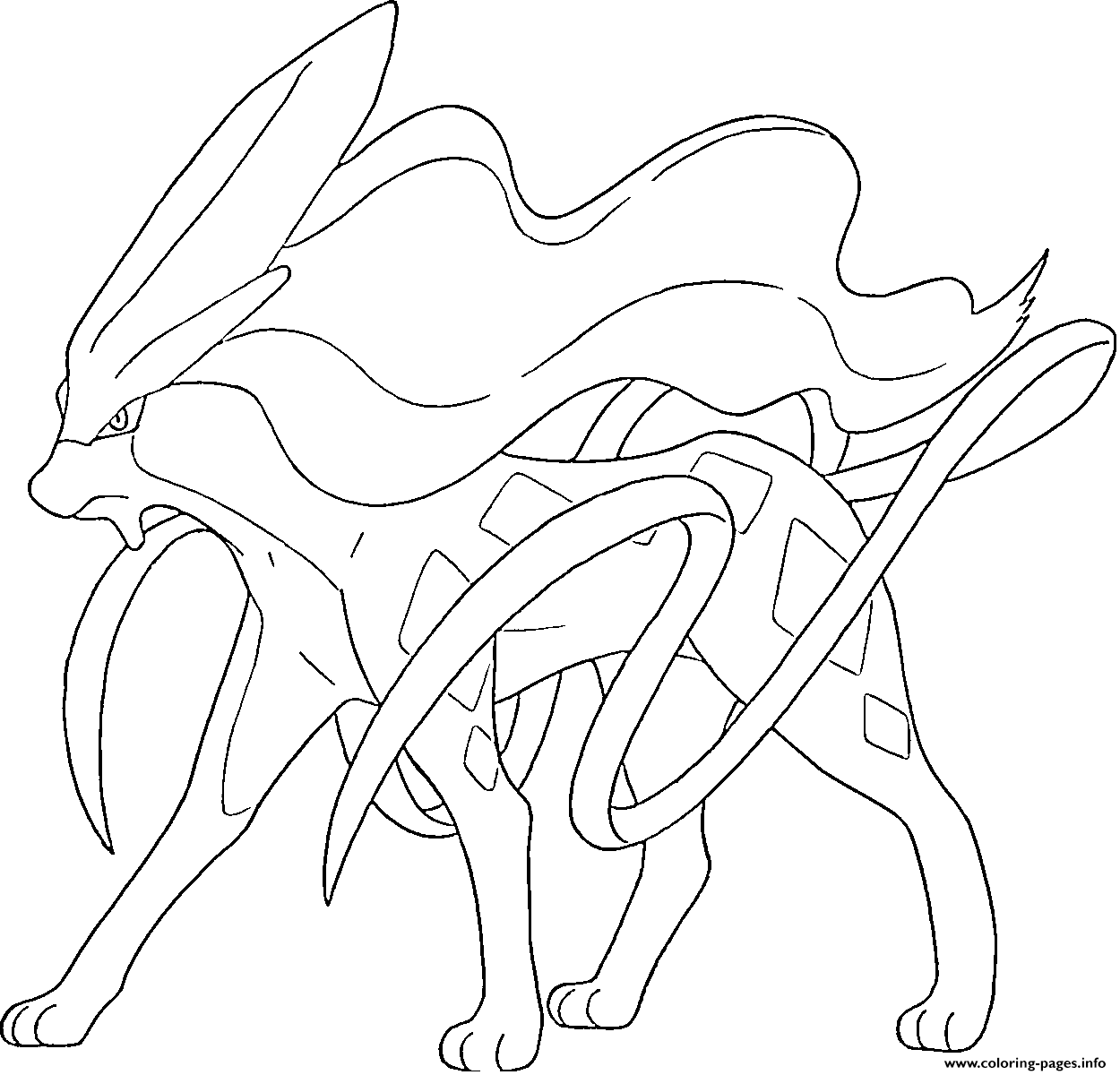 Suicune Generation 2 Coloring Pages Printable