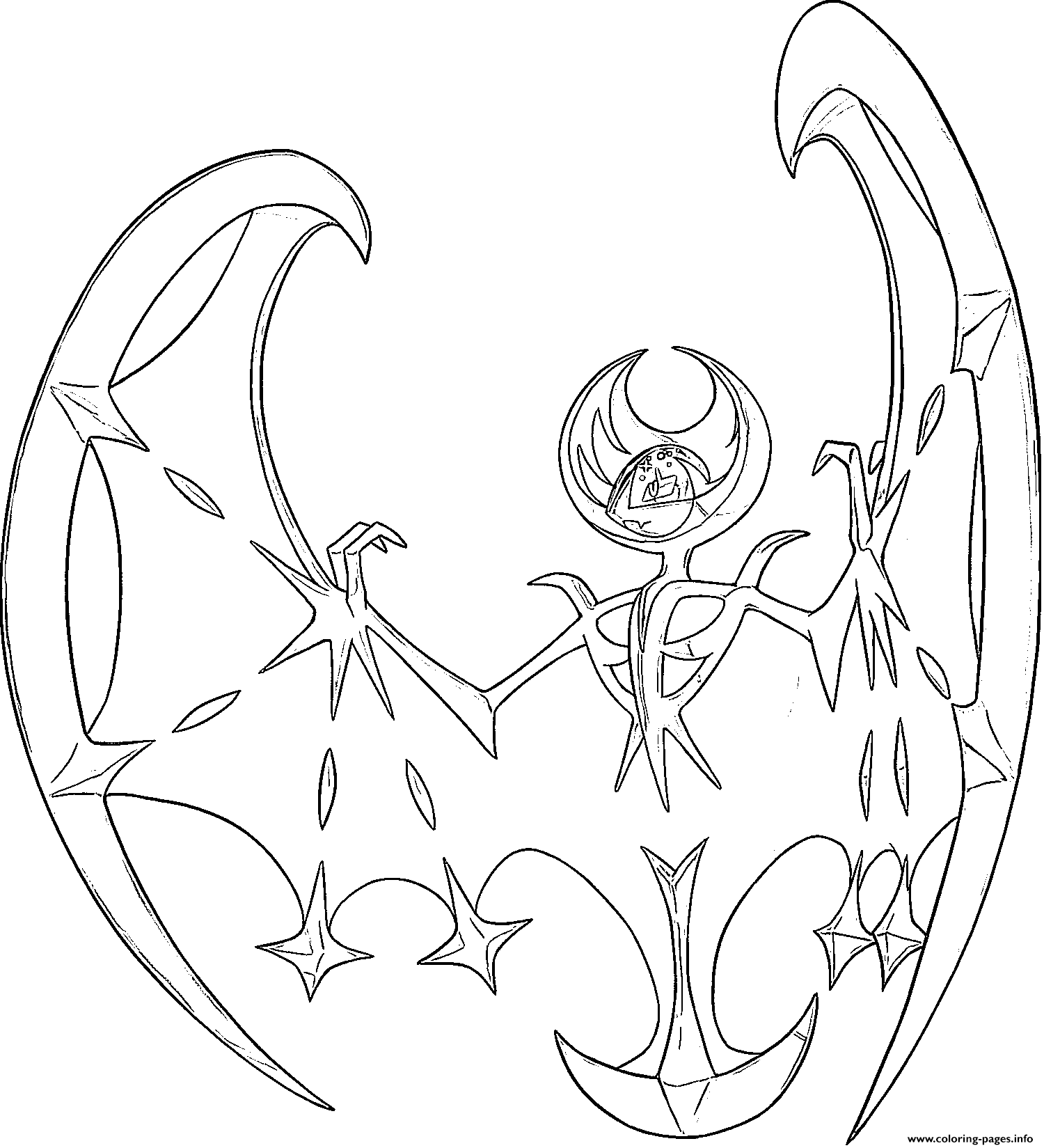 Lunala Pokemon Legendary Generation 7 Coloring Pages Printable