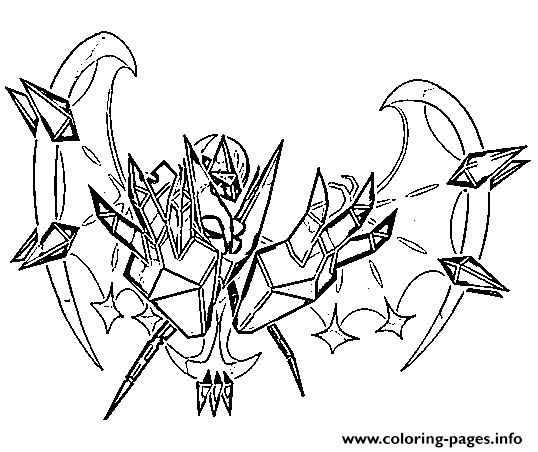 Necrozma Aa Pokemon Legendary Generation 7 Coloring Pages Printable