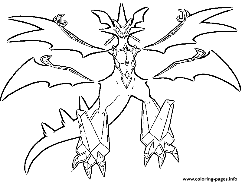 Necrozma Pokemon Legendary Generation 7 Coloring Pages Printable