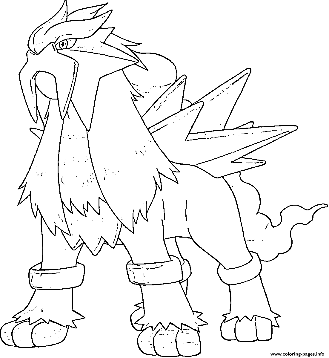Entei Generation 2 Coloring Pages Printable