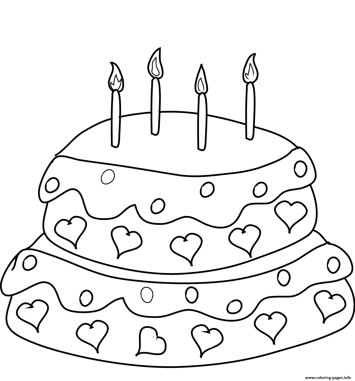 Birthday Cake With Four Candles Coloring Pages Printable