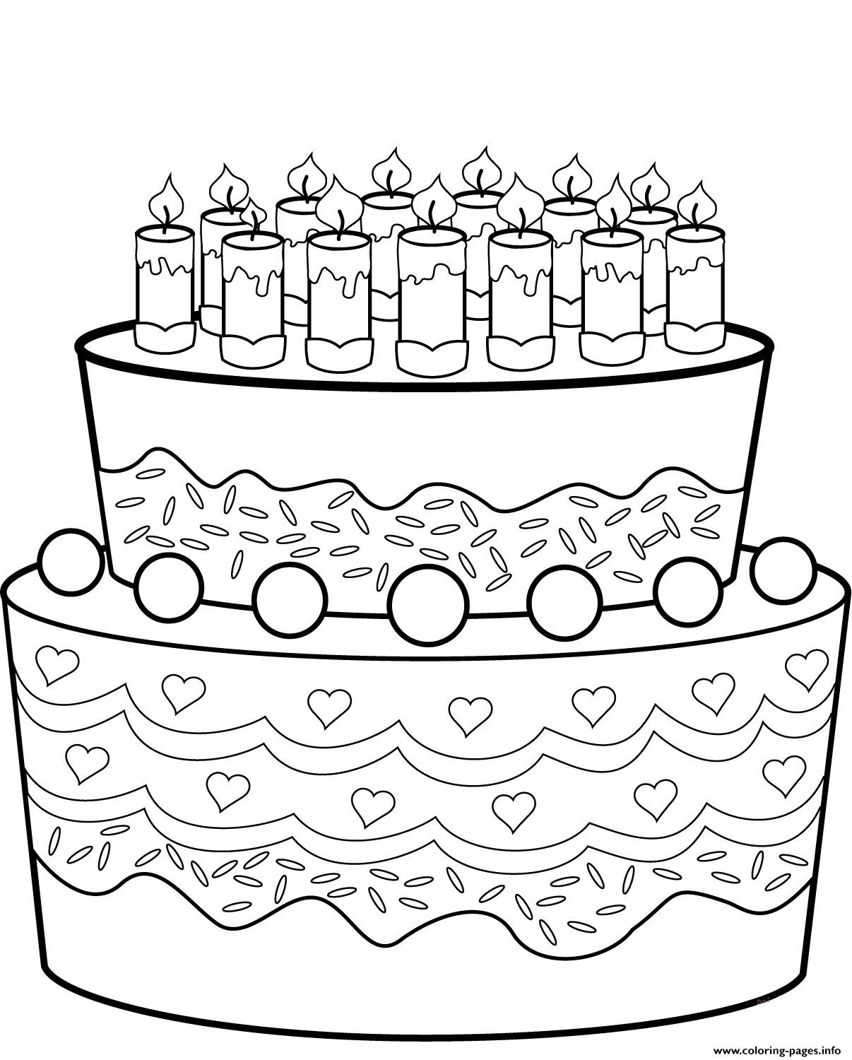 Outstanding Birthday Cake Coloring Pages Printable Funny Birthday Cards Online Alyptdamsfinfo